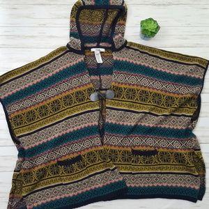 F21 boho hooded sweater poncho size S
